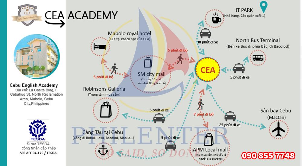 Bản đồ trường Anh ngữ CEA