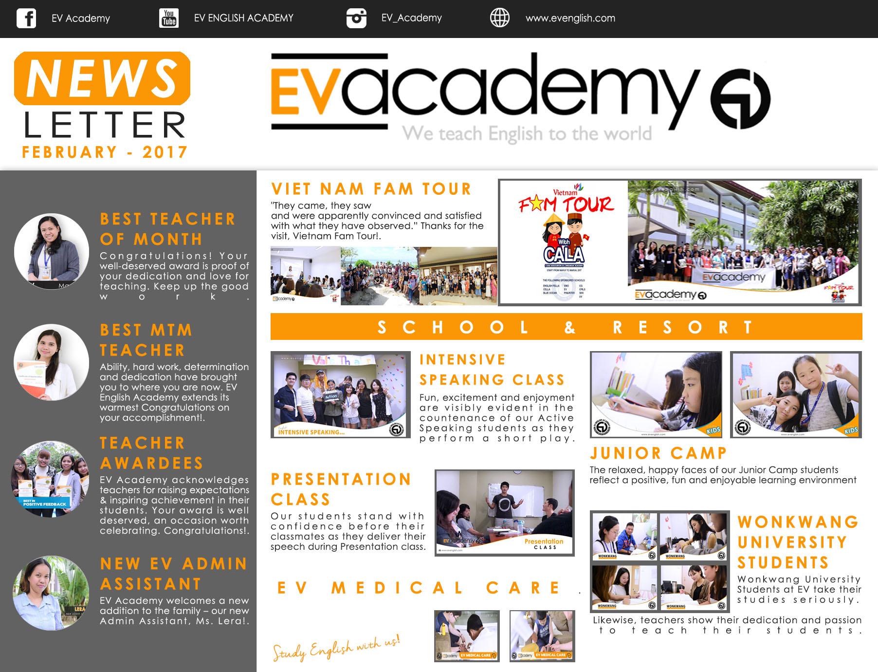 Bản tin trường Anh ngữ EV tháng 2 năm 2017